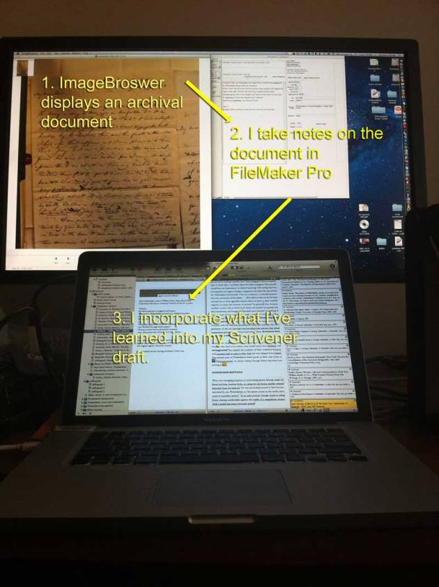 My two-monitor workflow. From ImageBrowser to FileMaker Pro to Scrivener
